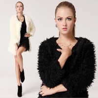 Free Shipping 2013 New Fashion Winter Warm Fur Coat Three Quarter Sleeve Outwear Women Long Coat Large Size Black White