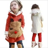 winter coat for girls Children's clothing female child thickening fleece sweatshirt 2pcs autumn&winter outerwear set free ship
