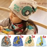 Hot Sale New 2014 Spring Baby Kid Infant Sanded Cotton Headset Print Cap Children Beanie Headphone Hats Kid's Accessories
