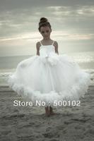 2013 Christmas Sale White Spaghetti Strap Flower Tulle Ankle Length Princess Girl Dresses