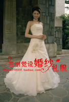 On sale Sand tube top slim wedding dress hot-selling small tail short trailing bridal gowns luxury satin wedding dresses 2013