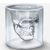 Skull cup gift double layer glass cup turesday skull gift red wine cup