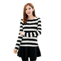 2013 women's slim o-neck long-sleeve stripe elegant autumn one-piece dress