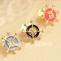 Free shipping fashion women jewelry dress accessory Anchor pins  brooch hot wheel shape brooch alloy collar flower