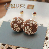 fashion vintage fabric vintage button stud earring r30  Free Shipping
