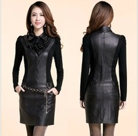 2013 autumn slim PU skirt slim hip long-sleeve one-piece dress women's leather with belt 6217