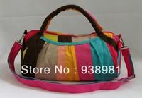 2013 Hot Fashion Color Stripe Bag Messenger Bag Women Handbag Sport Gym Bag