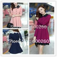 Korean Fashion Womens Breasted Slim Elegant Lace Long Sleeve Dress FREE SHIPPING 5404