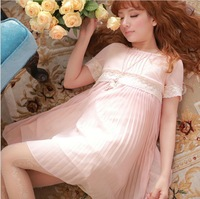 Supernova Dresses New Fashion 2013 Skirts Women Pullover Pleated Chiffon Novelty Dress Pink S M Plus Size