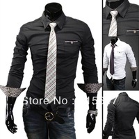 2013 new winter leopard striped men's casual long-sleeved shirt Slim