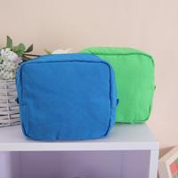Wood 100% cotton solid color brief cosmetic bag storage bag sanitary napkin bag shockproof bag