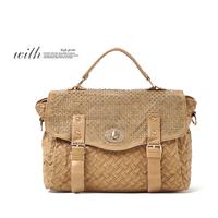 Wood pliableness PU knitted rivet flip vintage messenger bag handbag messenger bag