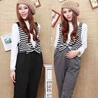 2013 spring and summer maternity pants maternity clothing casual stripe maternity bib pants trousers