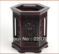 DHL Free Shipping Chinese Classical Six Corner Wooden Carved Pencil Pot in Screen style  in Dark Brown