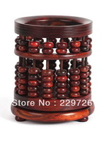 DHL Free Shipping Chinese Classical Rotatable Round Wooden Carved Brush Pot in Abacus Style in Brown