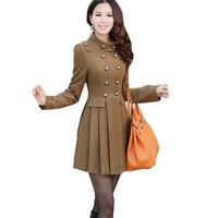Hot 2013 New Womens Winter Warm Wool Blend Retro Slim Fit Long Jacket Trench Coat Outwear WF-53591