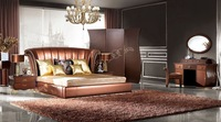 Italian design home furniture bedroom furniture leather bed night stand modern soft bed YS002