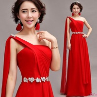 Cii red diamond shoulder bride wedding toast clothing evening dress evening long section 2013 latest