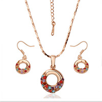 2013 Fashionable 18K Rose Gold Plated  Women's Sets Necklace Earrings Colorful Rhinestone Inlaid Party Jewelry In Stock