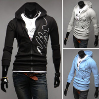 High Qulaity New Arrival Mens Males Scrawl printing Hooded Sweatshirt Hoodies Cardigan with Zip Outwear Jacket M0034