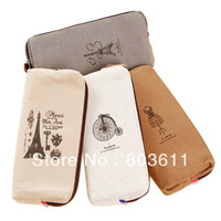 Retro Romantic Canvas ''Paris Memory'' Pencil Pen Case Cosmetic Makeup Coin Purse Pouch Zipper Bag
