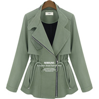 New 2013 Autumn and Winter Coat Women High Quality Outwear Tops Fake Army Green Long-sleeved Lady Jacket Female 8421
