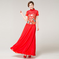 Wedding dress cheongsam red bridal evening dress wedding chinese style cheongsam evening dress short-sleeve bridal wear long
