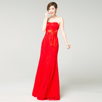Ido lace formal dress formal dress married 2013 fish tail tube top evening dress red bride design long dress