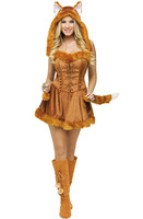 Hot New Foxy Fox Costume For Women Cat Girl Outfits With Tail Animal Cosplay Dress Up Costumes Party Fancy Dress Suit A1295