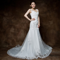 Fish tail wedding dress 2013 train new arrival wedding dress lace slim tube top bandage fish tail