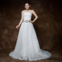 2013 tube top princess rhinestone train bride wedding dress
