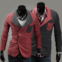 Unique knitted coat material fashion male slim double breasted blazer suit 2247