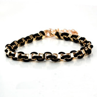 Wholesale gold PLATED Copper + PU  wowmen's bracelet stylish bracelet for girls   6cm diameter  MOQ:10USD