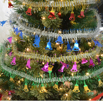 Four colors 200cm ribbon shining bells Christmas hanging Decoration