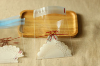 PP005 Wholesale 110x100mm+30mm Slef-adhesive White Lace Transparent Food Packing bag Packing Bag 500pcs/lot