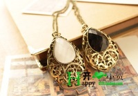 Min.order is $15 (mix order)  fashion vintage drop gem carved design long necklace