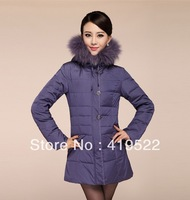 Stock! ! ! Free shipping 2013 new winter thickening middle-aged Nagymaros collar down jacket long down jacket coat Slim
