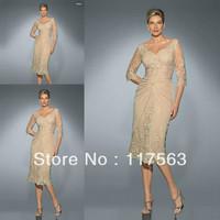 Graceful v neck applique lace middle sleeve tea length short mother of the bride dress MQ038
