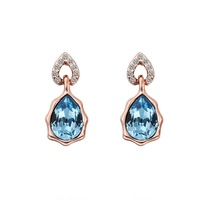 High Quality Women Birthday Gift Earring Rose Gold Plated Blue Water Drop Rhinestone Crystal Stud Earrings Jewelry 18KGP E470