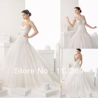Unique Design White A-line Chapel Train Bridal Wedding Dress China HZ3530