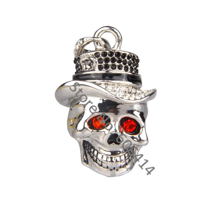 Retail genuine 2gb 4gb 8gb 16gb 32gb bulk cheap USB 2.0 Jewelry Cap skull head necklace usb flash drives pen drives usb stick(China (Mainland))