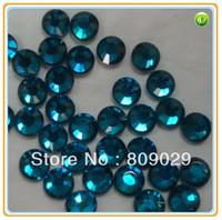 Big Promotion! SS10 3mm, 288pcs/Bag blue zircon DMC HotFix FlatBack Rhinestones,DIY iron-on Hot Fix crystal stones
