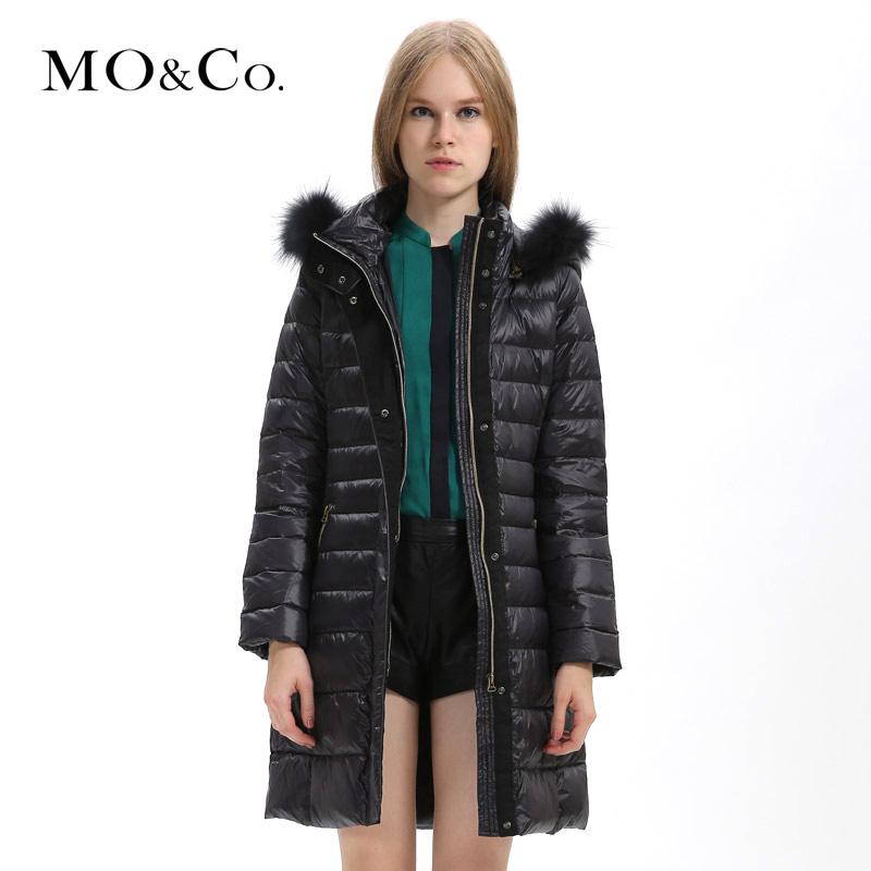 Moco 2013 mormons autumn and winter women raccoon fur skin with a hood medium-long down coat female m124ein23(China (Mainland))