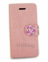 Luxury Flip Wallet Card Holder Bling Diamond Rose Magnetic Stand Leather Cases Cover For Apple Iphone 4 4G 4S 5 5G 5S 5C Handbag