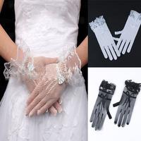 Women Lace Mesh Wrist Length Glove Wedding Party Prom Knit Flower Crochet Mitten Free shipping