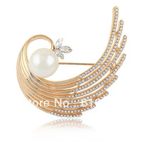 Eway high quality18KGold Imitation pearl Fashion Luxury Brooches Clothing jewelry accessories