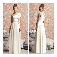 2014 new arrival custom made one-shoulder A-line chiffon long bridesmaid dresses bridesmaid gown LR141