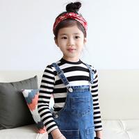 Ilovej children's clothing 2013 stripe long-sleeve basic T-shirt jlfto32