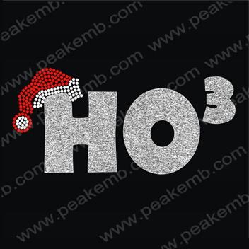 Free Shipping 50Pcs/Lot Christmas Hat Ho Iron On Rhinestone Motif Transfer Designs Hotfix Patterns Wholesale(China (Mainland))
