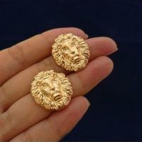 Retro style fashion women's jewelry, brand design punk lion head Stud Earrings wholesale price free shipping